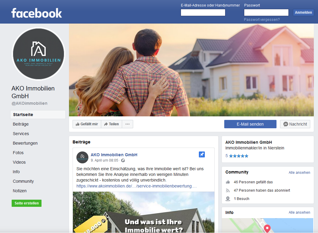 AKO Immobilien Facebook-Auftritt Screenshot