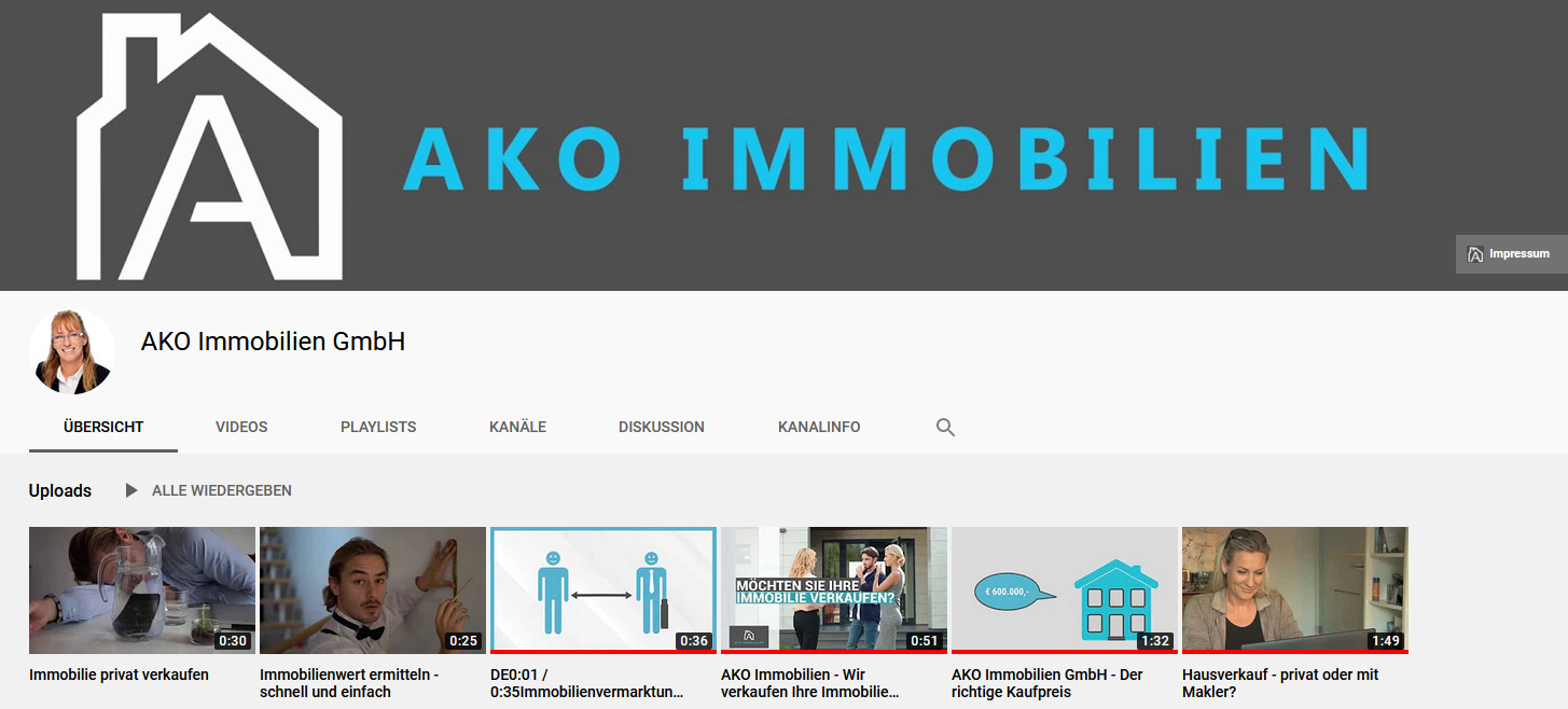 AKO Immobilien Youtube-Auftritt Screenshot